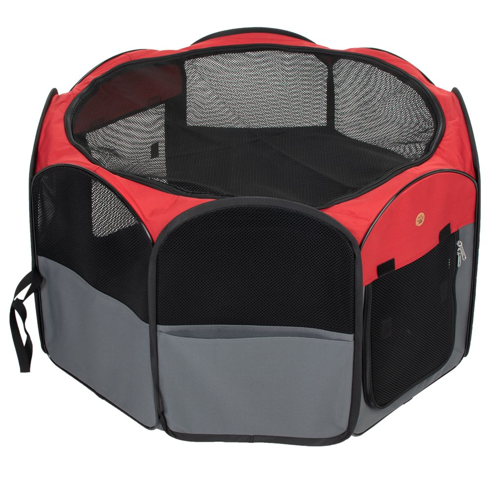 8-Sided Nylon Run - Grey/red: 140 x 140 x 72 cm (L x W x H)