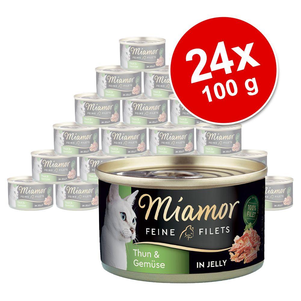 Ekonomipack: Miamor Fine Filets 24 x 100 g - Blandpack med vit tonfisk