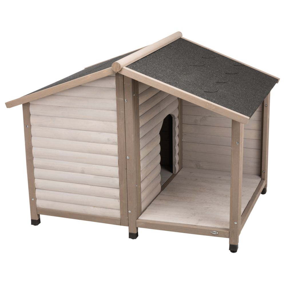 Trixie Natura Log Cabin with Porch Dog Kennel - Size M/L: 100 x 130 x 105 cm (L x W x H), Grey (2 packages*)