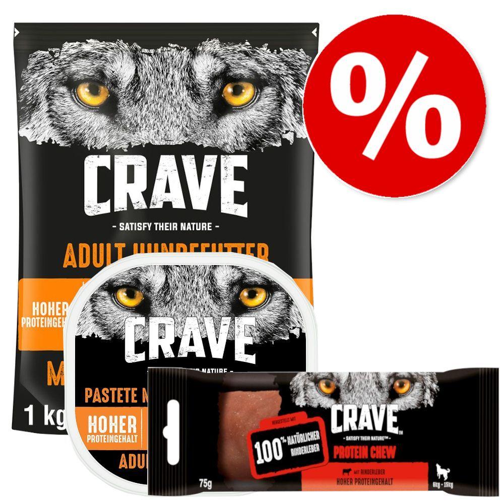 Sparpris! 1 kg Crave Adult foder + 300 g Crave Paté + 75 g Crave Chew - Turkey & Chicken + Paté Turkey & Chicken + Snack Beef