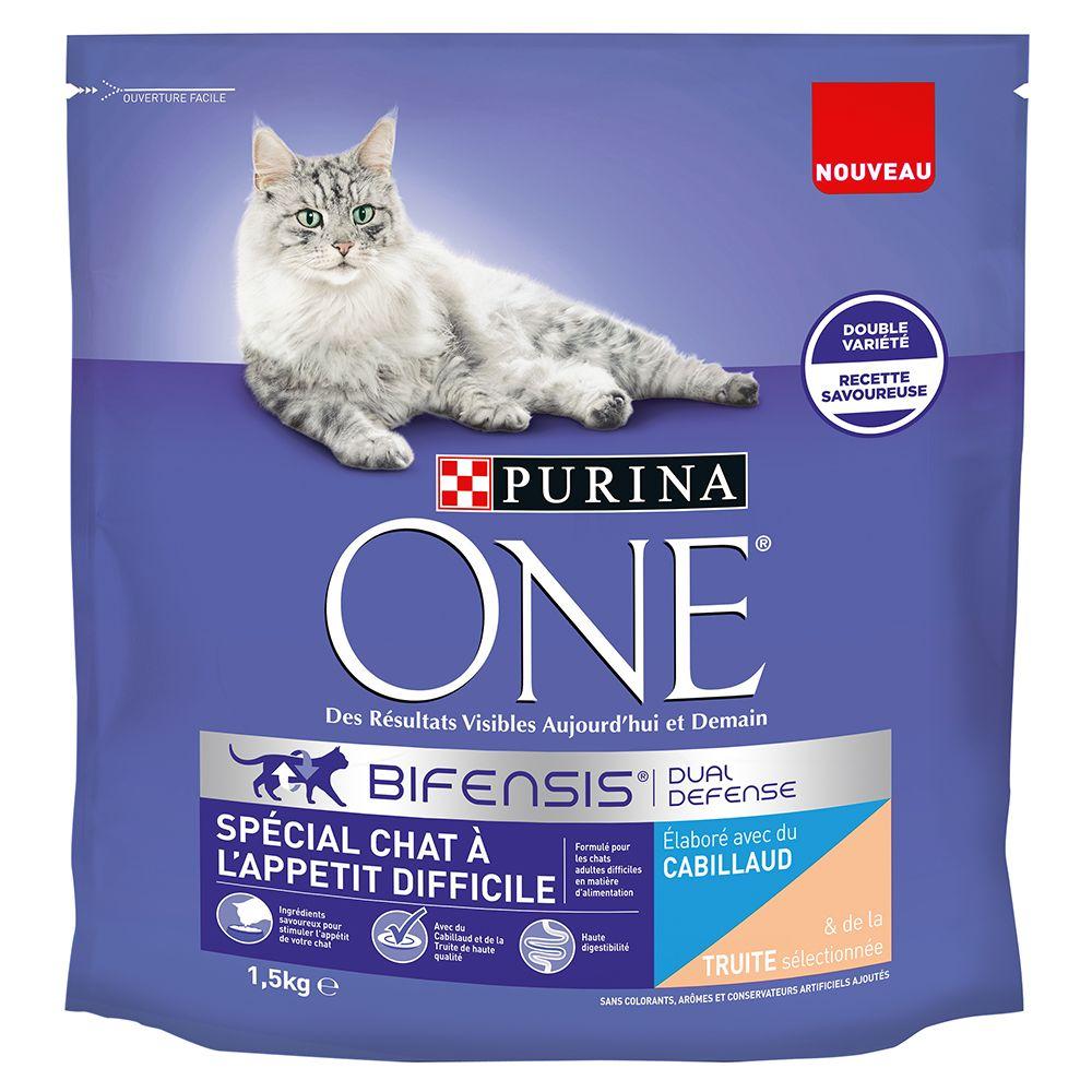 2x1,5kg Spécial chat à l'appétit difficile cabillaud, truite Purina One - Croquettes pour chat