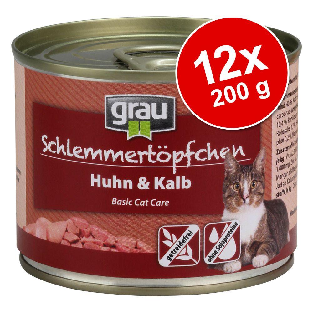 Ekonomipack: Grau Gourmet spannmålsfritt 12 x 200 g - Kitten: Nötkött, anka & fågel