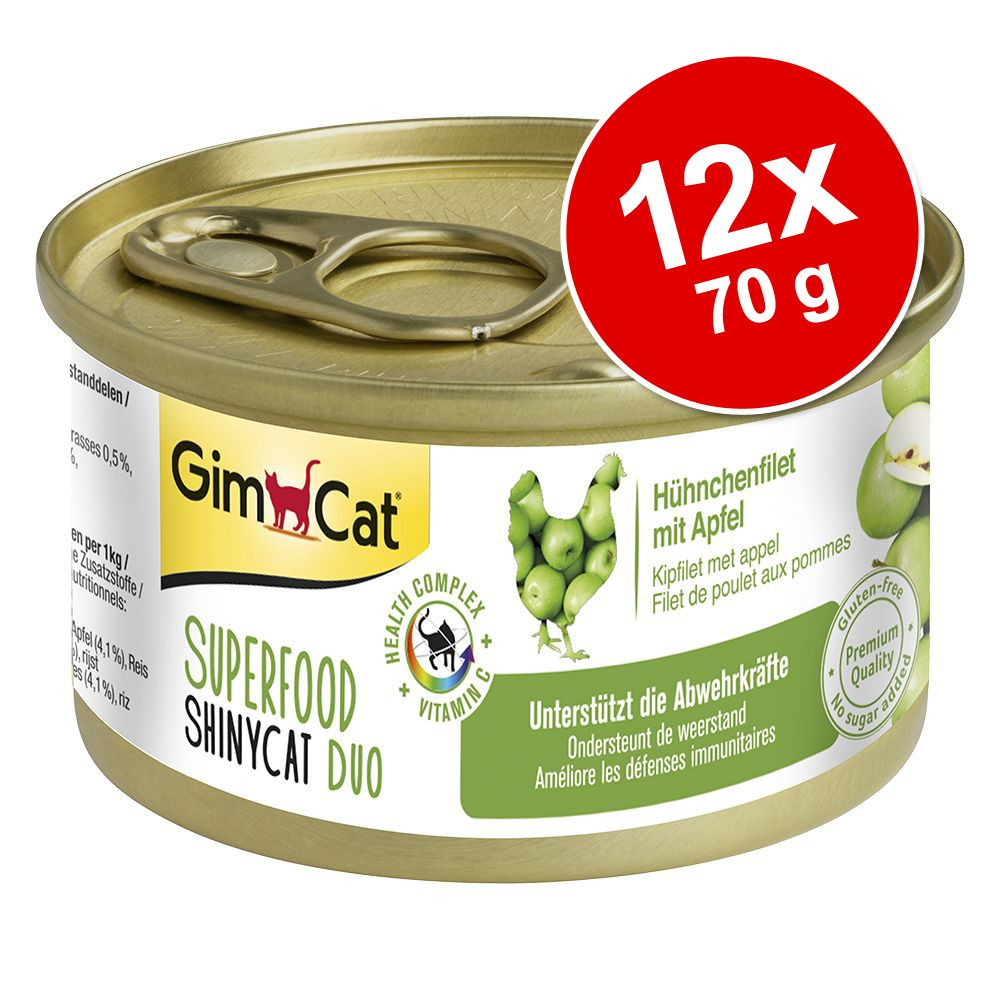 GimCat Superfood ShinyCat Duo 12 x 70 g - Mixpaket (4 sorter)