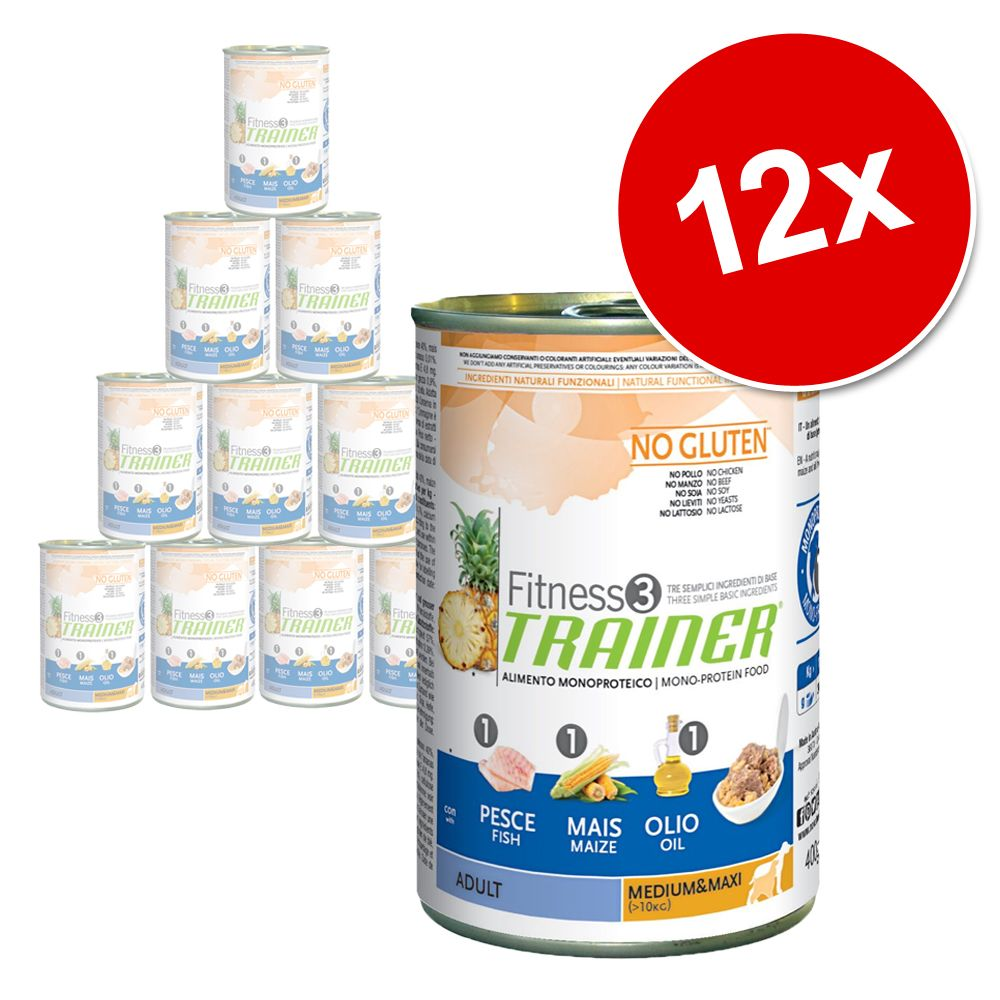 Foto Trainer Fitness 3 Adult 12 x 400 g - Medium/Maxi No Gluten Pesce & Mais Set Risparmio