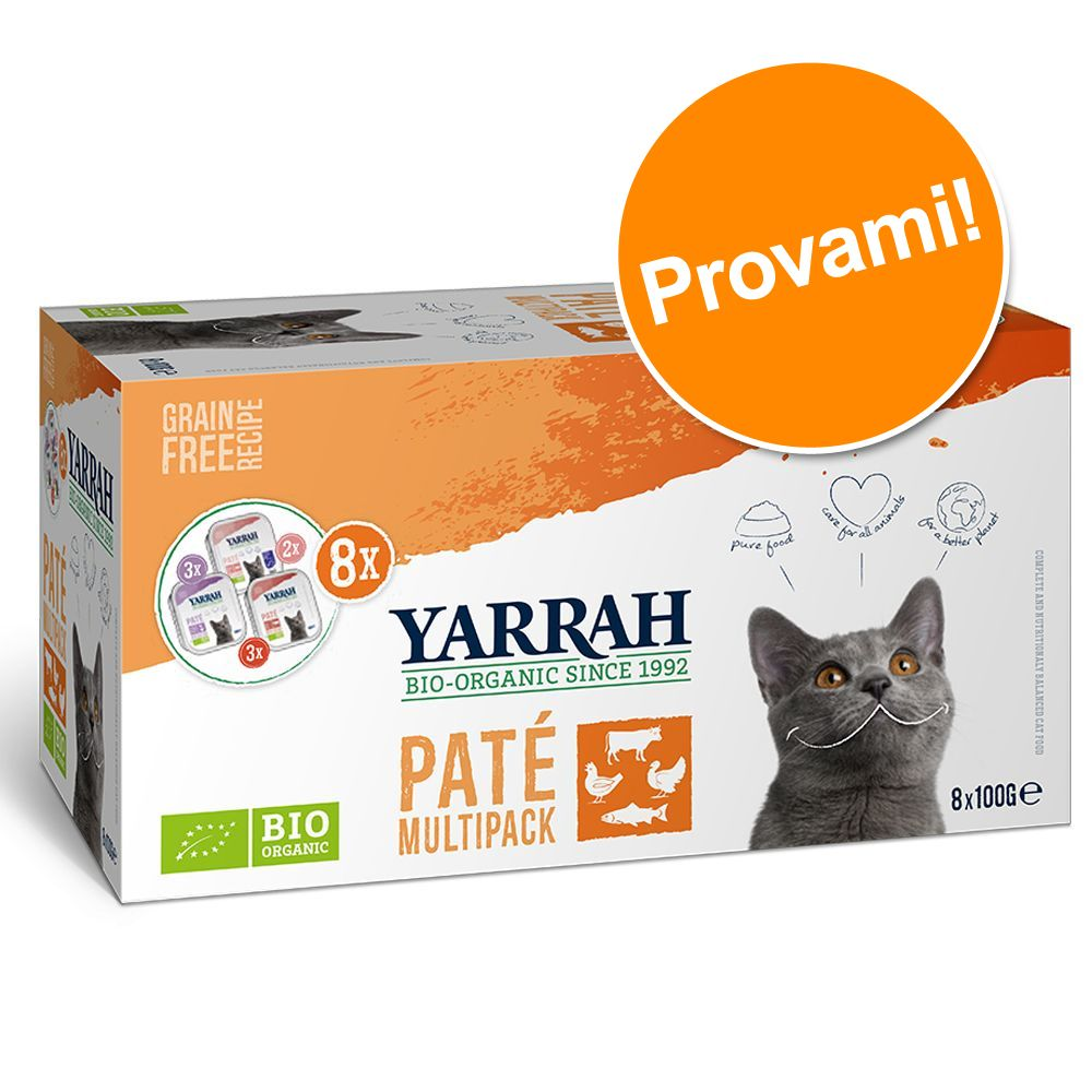 Image of Set prova misto! 8 x 100 g Yarrah Bio Paté - Mix 3 gusti: Manzo bio + Pollo bio + Salmone