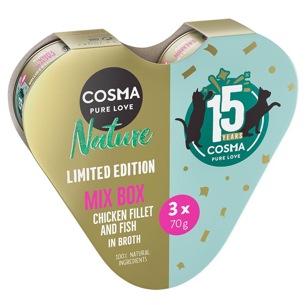 Coffret anniversaire en forme de cœur Cosma Nature pour chat - lot mixte (poulet, thon du Pacifique, saumon)
