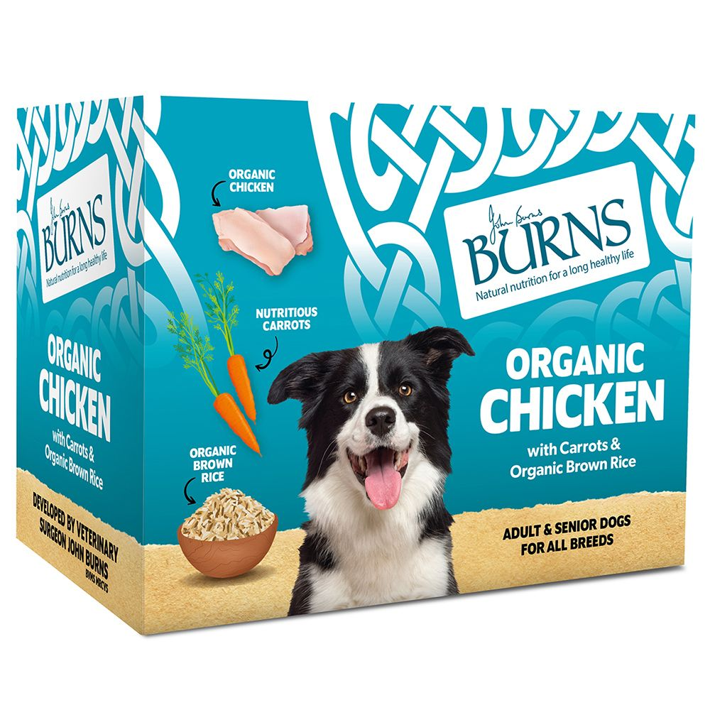 Burns Organic Chicken with Carrots and Organic Brown Rice - 6 x 395g Trays