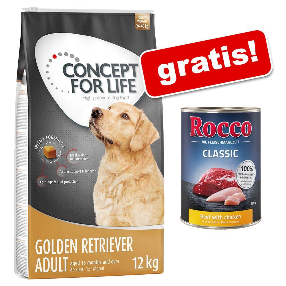 12 kg Concept for Life + 6 x 400 g Rocco gratis! - Large Sensitive, 12 kg