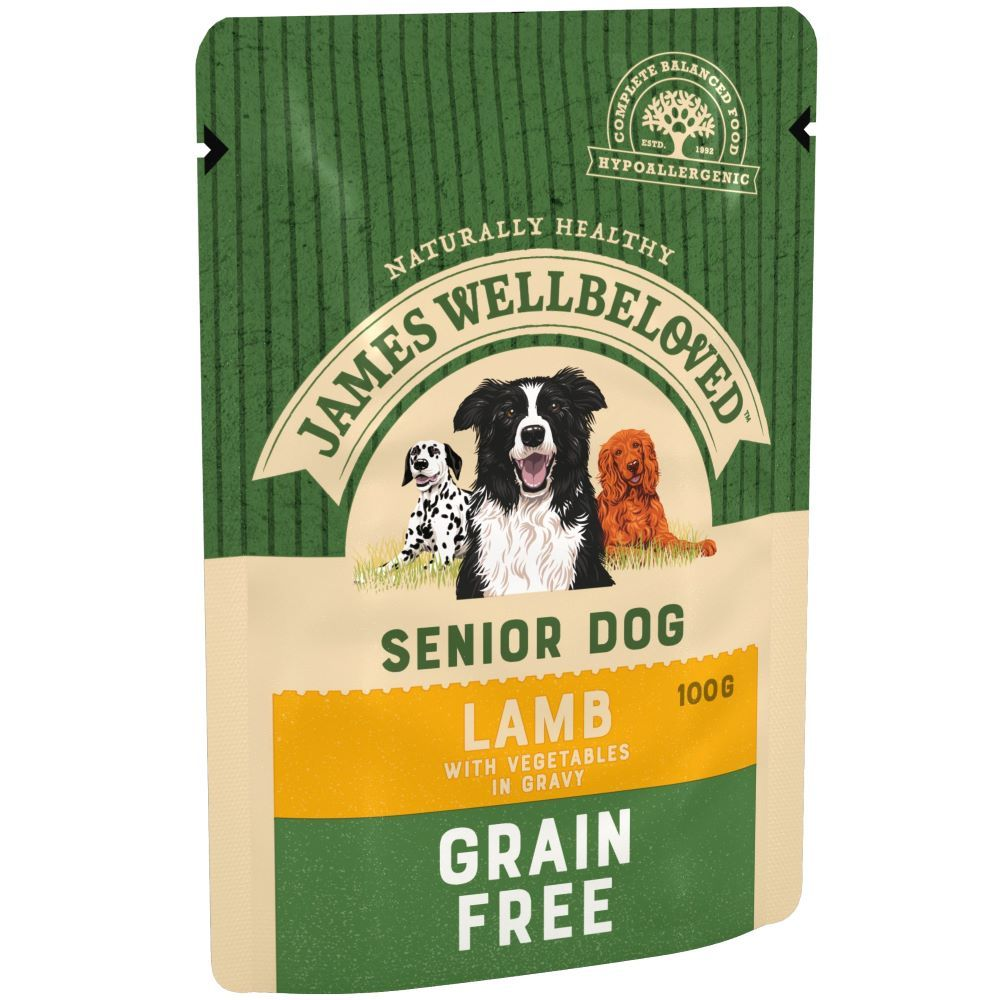 Senior Lamb & Vegetables Grain-Free Pouches James Wellbeloved Wet Dog Food