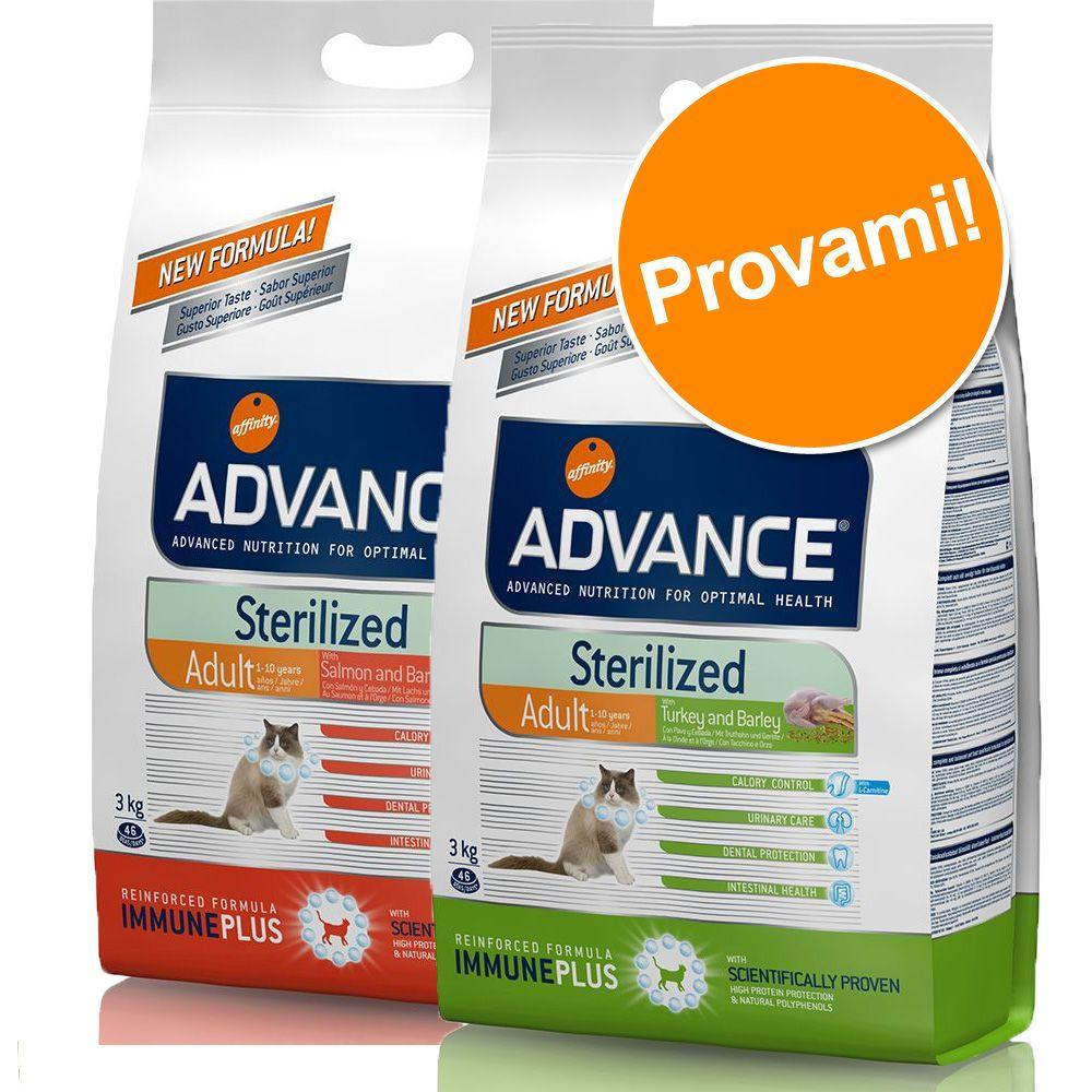 Image of Set prova misto! 2 x 3 kg Advance Sterilized Adult - 3 kg Tacchino + 3 kg Sensitive Salmone