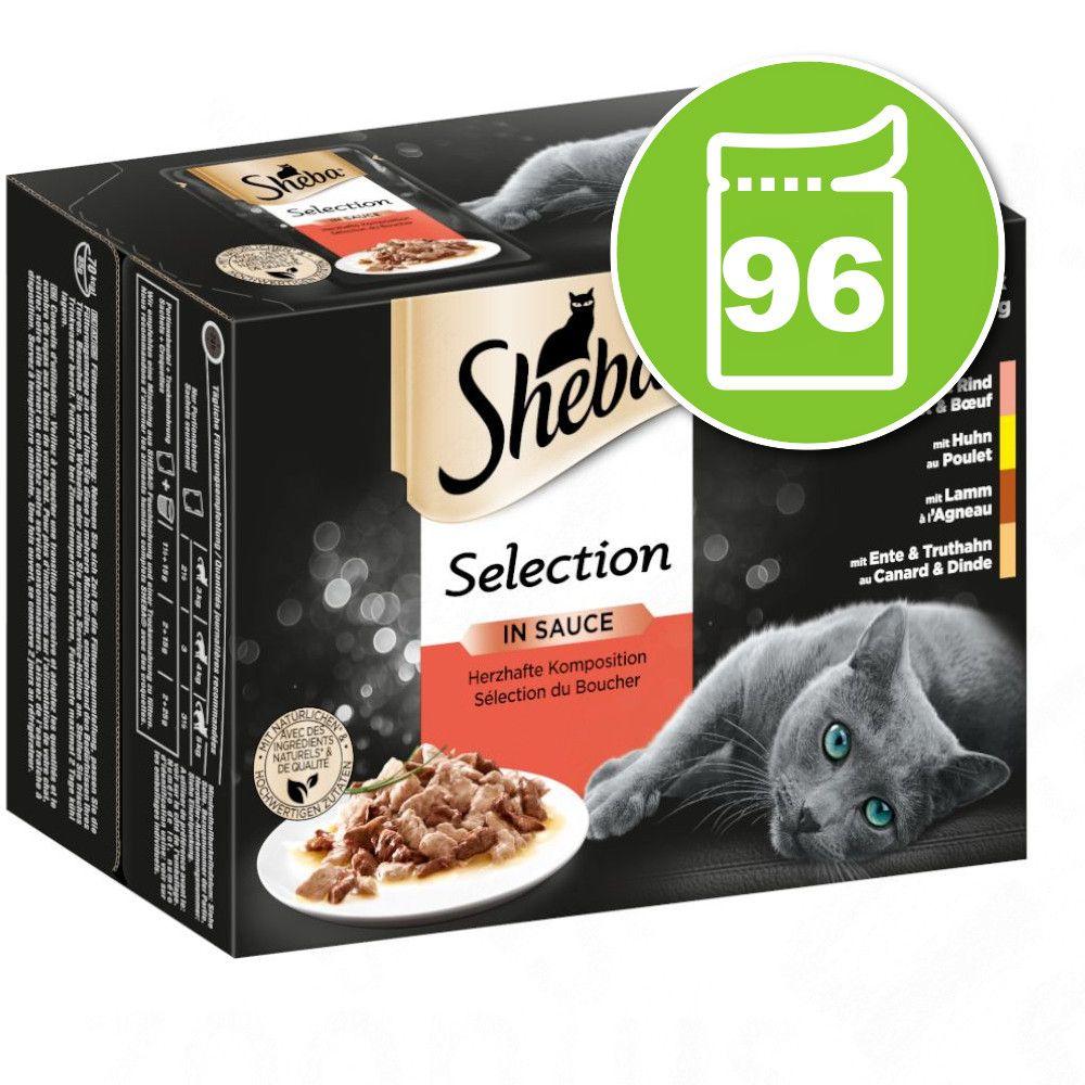 96x85g Délicatesse en sauce : variations de volaille Sheba - Nourriture pour Chat