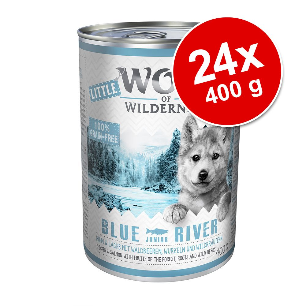 Ekonomipack: Little Wolf of Wilderness 24 x 400 g - Wild Hills Junior - Anka & kalv