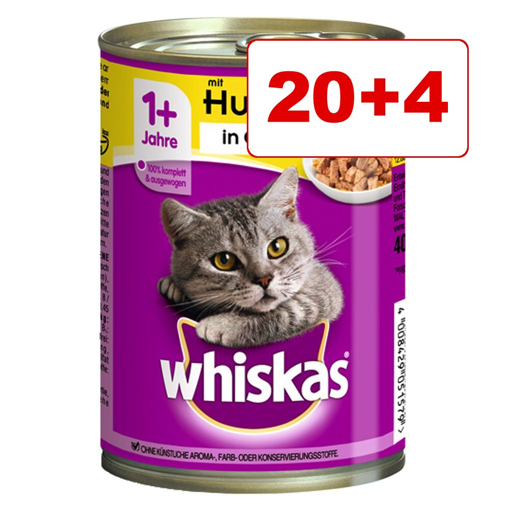 18 + 6 kaupan päälle! 24 x 400 g Whiskas 1+ -kissanruokaa - 1+ in Jelly, lohi