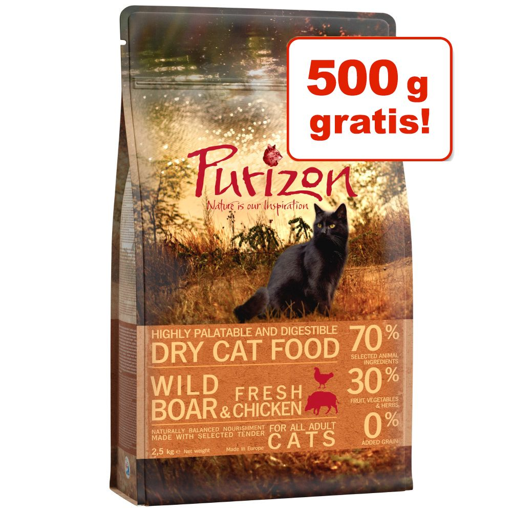 2 kg + 500 g på köpet! 2,5 kg Purizon torrfoder Adult Deer & Fish