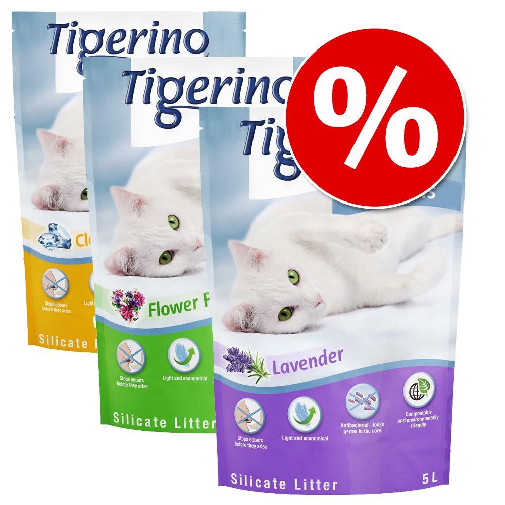 Provpack: Tigerino Crystals kattsand 3 x 5 l - 3 olika sorter