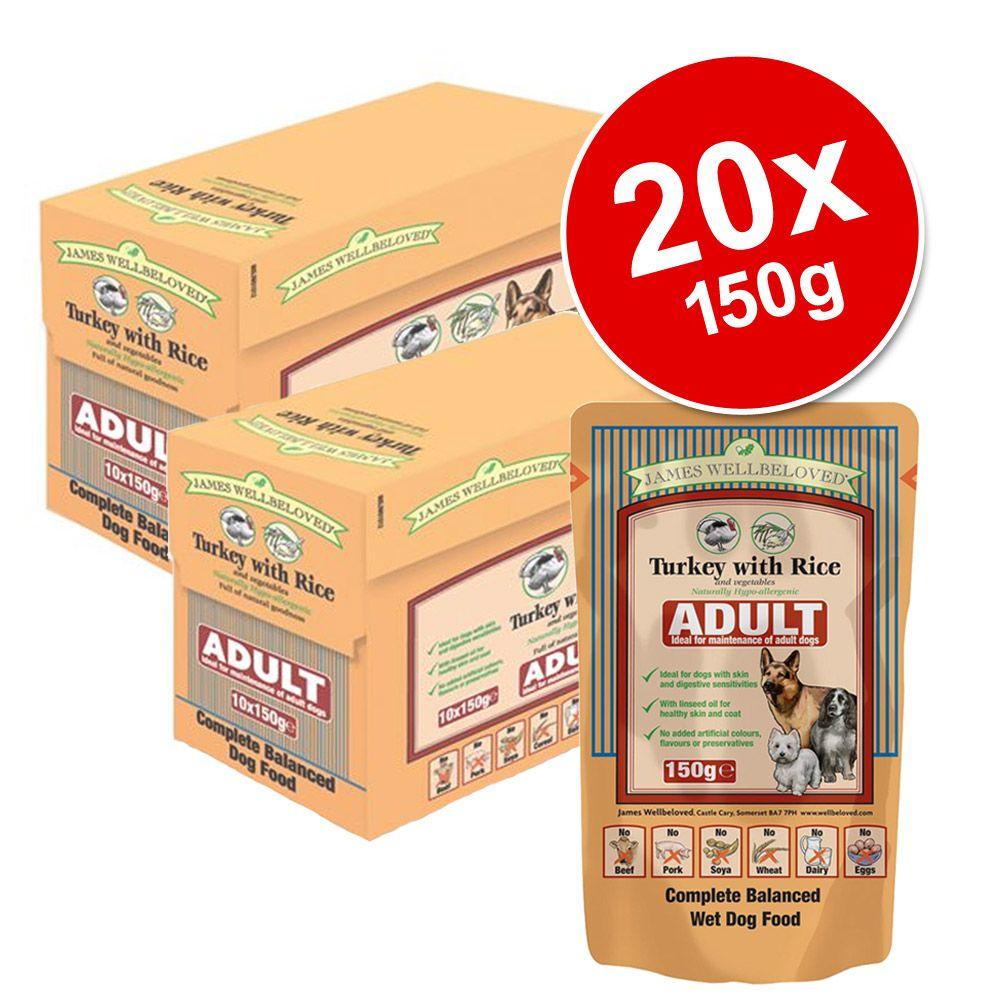 Ekonomipack: 20 x 150 g James Wellbeloved Pouches våtfoder - Puppy & Junior Turkey & Rice