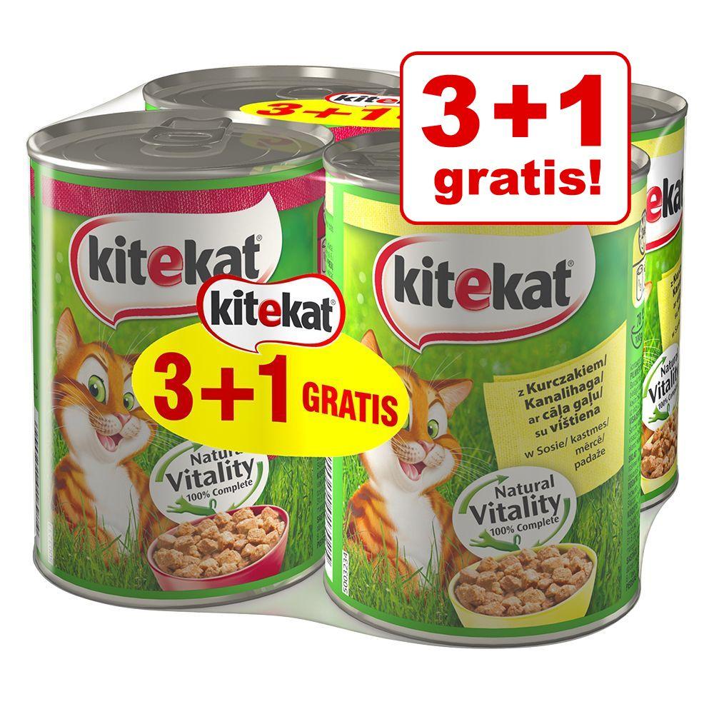 Image of 3 + 1 gratis! 4 x 400 g Kitekat - 2 x Pollo + 2 x Manzo