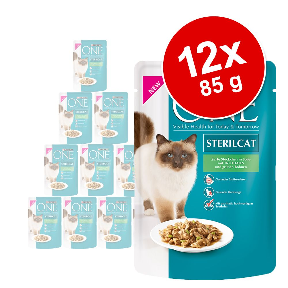 PURINA ONE Sterilised 12 x 85 g pour chat - dinde, haricots verts