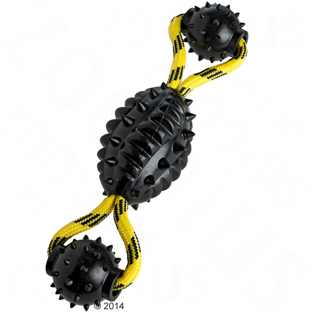 HUNTER Spike Ball med rep hundleksak - L 30 x Ø 7 cm