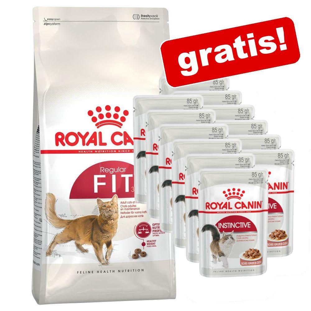 10 kg Royal Canin torrfoder + 12 x 85 g våtfoder på köpet! - Outdoor 30 + Instinctive i gelé