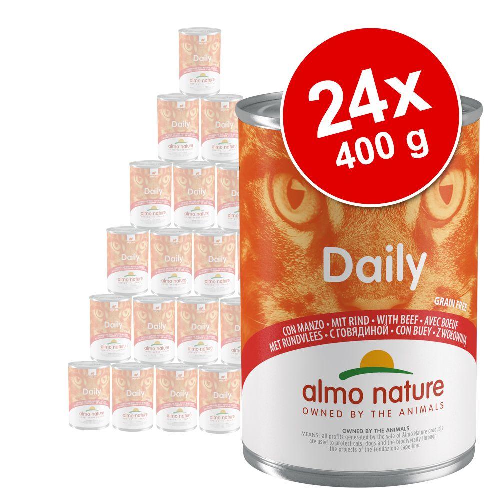 Ekonomipack: Almo Nature Daily Menu 24 x 400 g - Blandpack: kanin, nötkött, kalkon + kalv