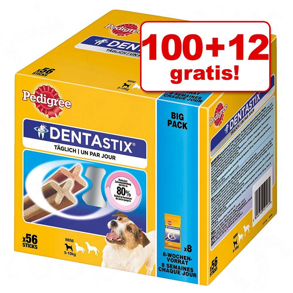 100 + 12 på köpet! Pedigree Dentastix/Dentastix Fresh tuggpinnar – Small (1760 g)