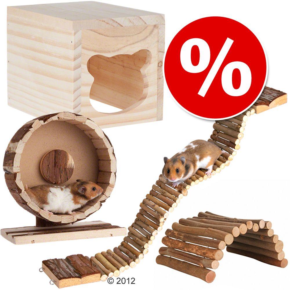 Cottage tillbehörsset för hamster och möss – 4-delat set (med motionshjul ø 20 cm)