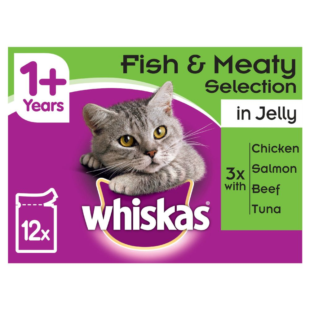 Fish & Meat Selection in Jelly Pouches Whiskas 1+ Wet Cat Food