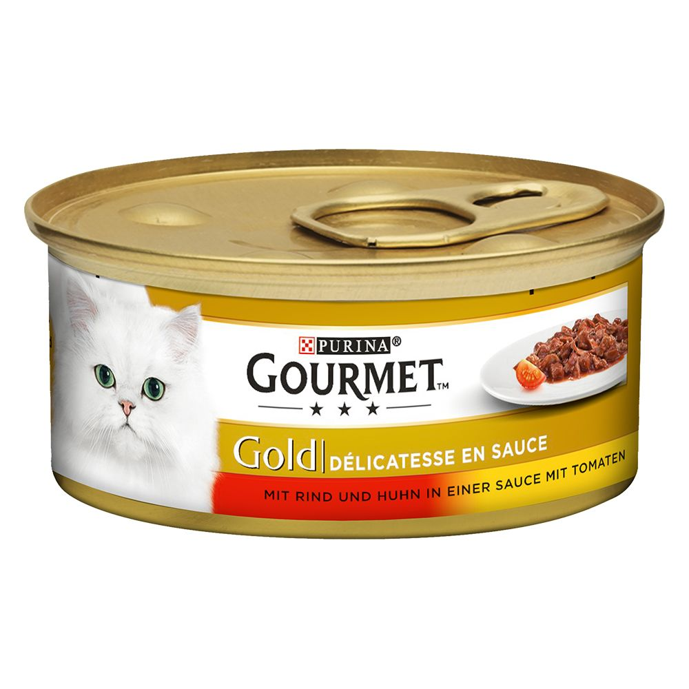 Beef & Chicken Delicacies in Sauce Gourmet Gold Wet Cat Food