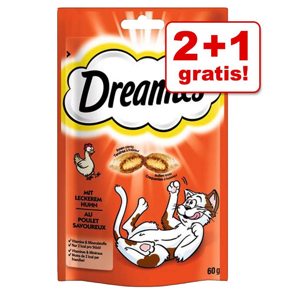 2 + 1 på köpet! 3 x 60 g Dreamies Cat Treats godis - Nötkött 3 x 60 g