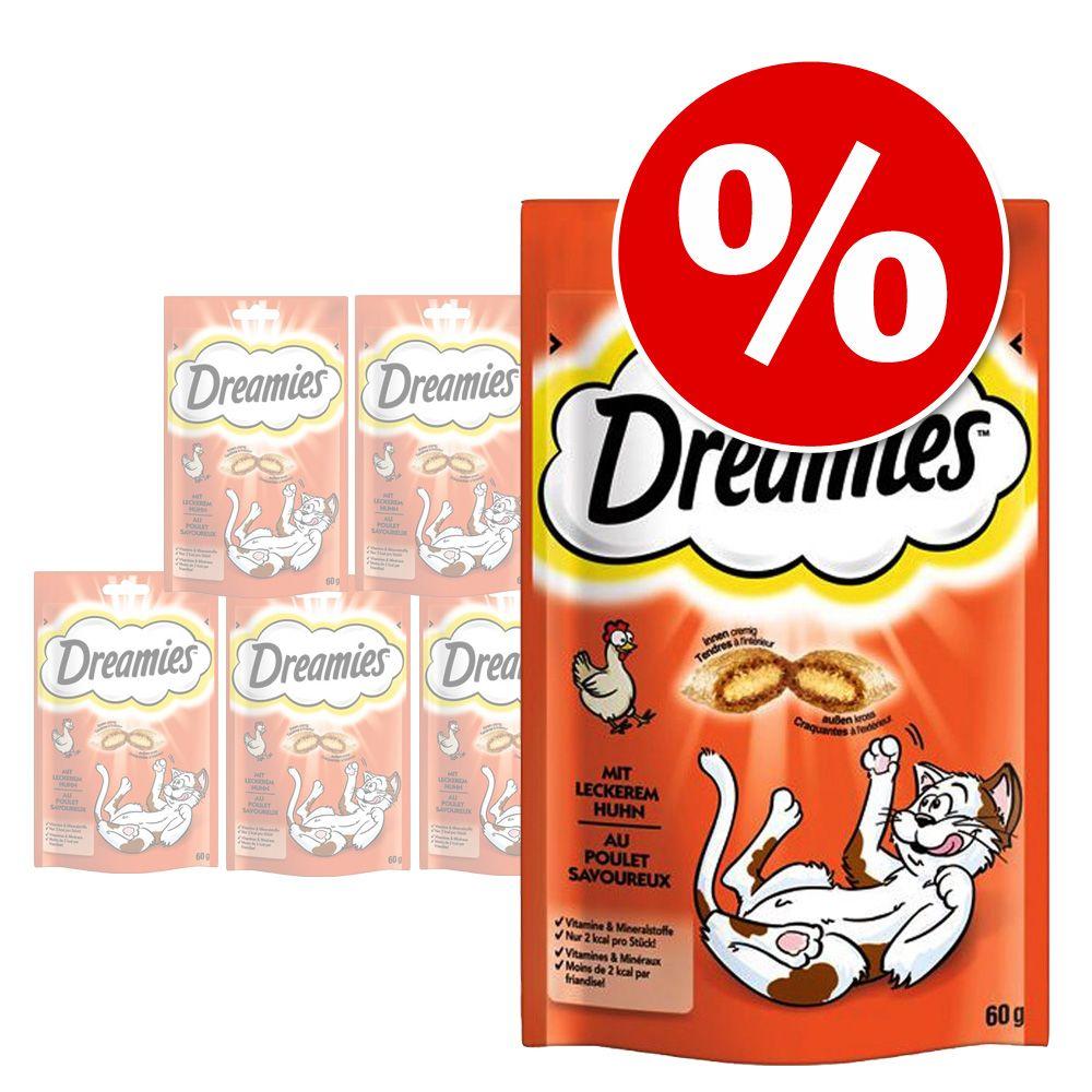 Ekonomipack: Dreamies kattgodis, 6 x 55 / 60 / 110 g - Lax (6 x 60 g)