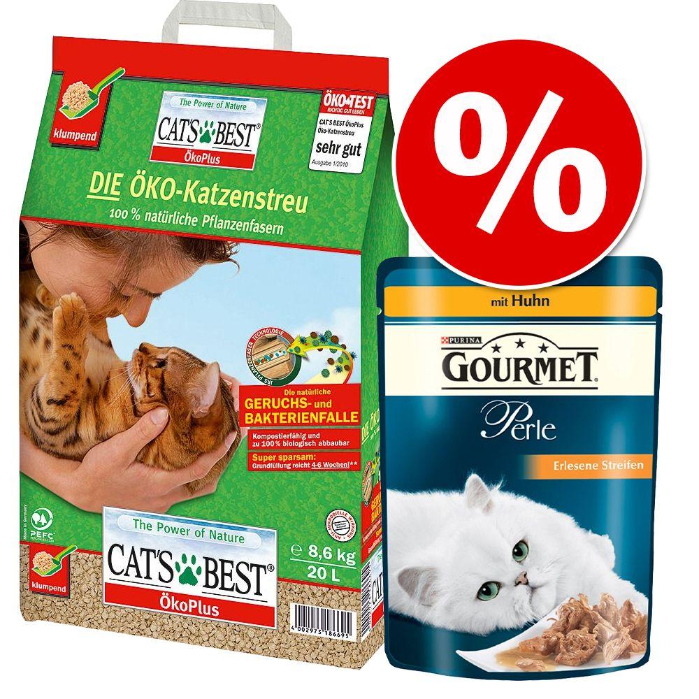Foto Tutto in 1 click! 20 l Cat's Best + Gourmet Perle - Cat's Best Eco Plus + 24 x 85 g Gourmet Perle
