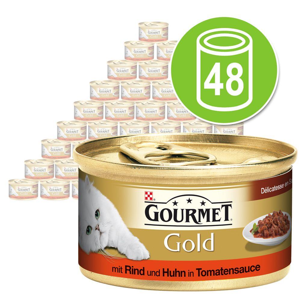 Mégapack Gourmet Gold Délicatesse en sauce 48 x 85 g pour chat - bœuf, poulet, sauce tomate