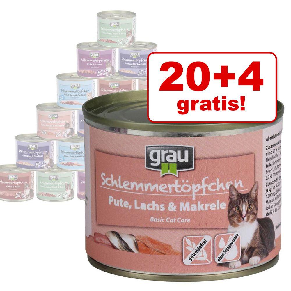 20 + 4 gratis! 24 x 200 g Grau Schlemmertöpfche...