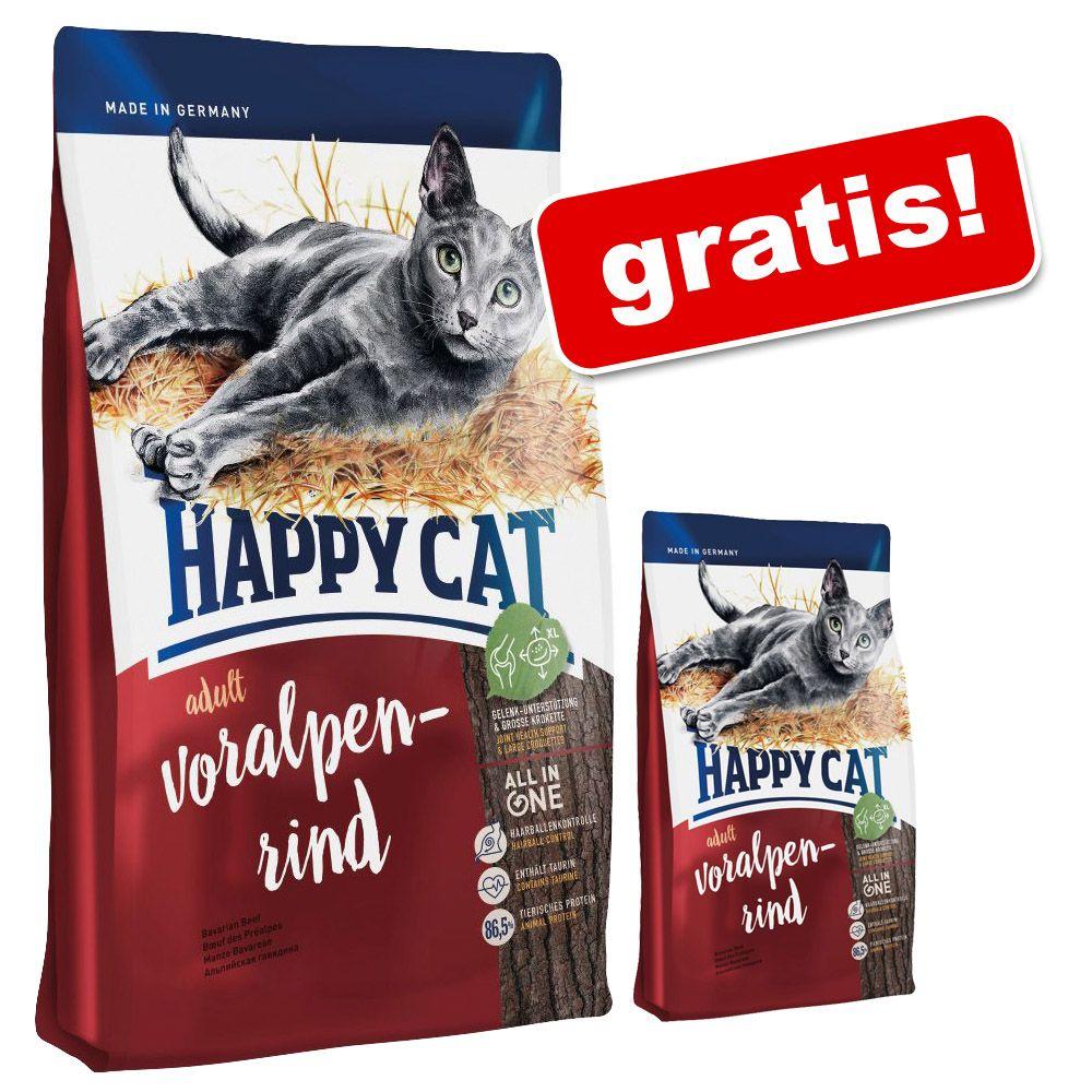 10 kg Happy Cat + 1,4 kg gratis! - Adult, z łososiem atlantyckim, 11,4 kg