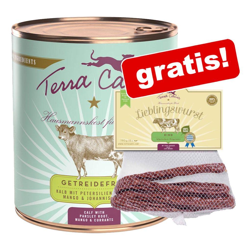 12 x 800 g Terra Canis spannmålsfritt + Terra Canis Lieblingswurst på köpet! Kalkon med selleri, pumpa & vattenkrasse