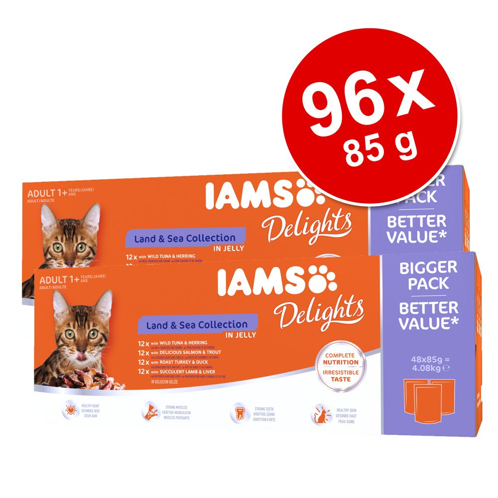 Ekonomipack: IAMS Adult Delights 96 x 85 g - Land & Sea mix i gelé