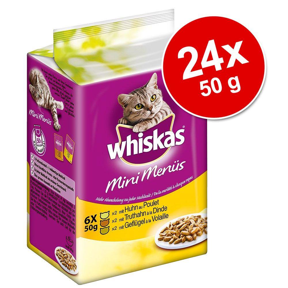 Megapakiet Whiskas Mini, z warzywami, 24 x 50 g - Biała ryba, tuńczyk i łosoś w sosie