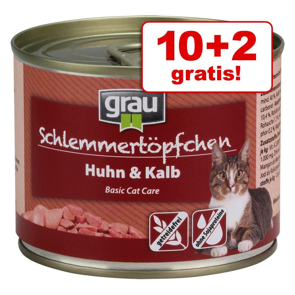 10 + 2 gratis! Grau Puszka dla Łasucha, bez zbóż, 12 x 200 g - Indyk, łosoś, makrela
