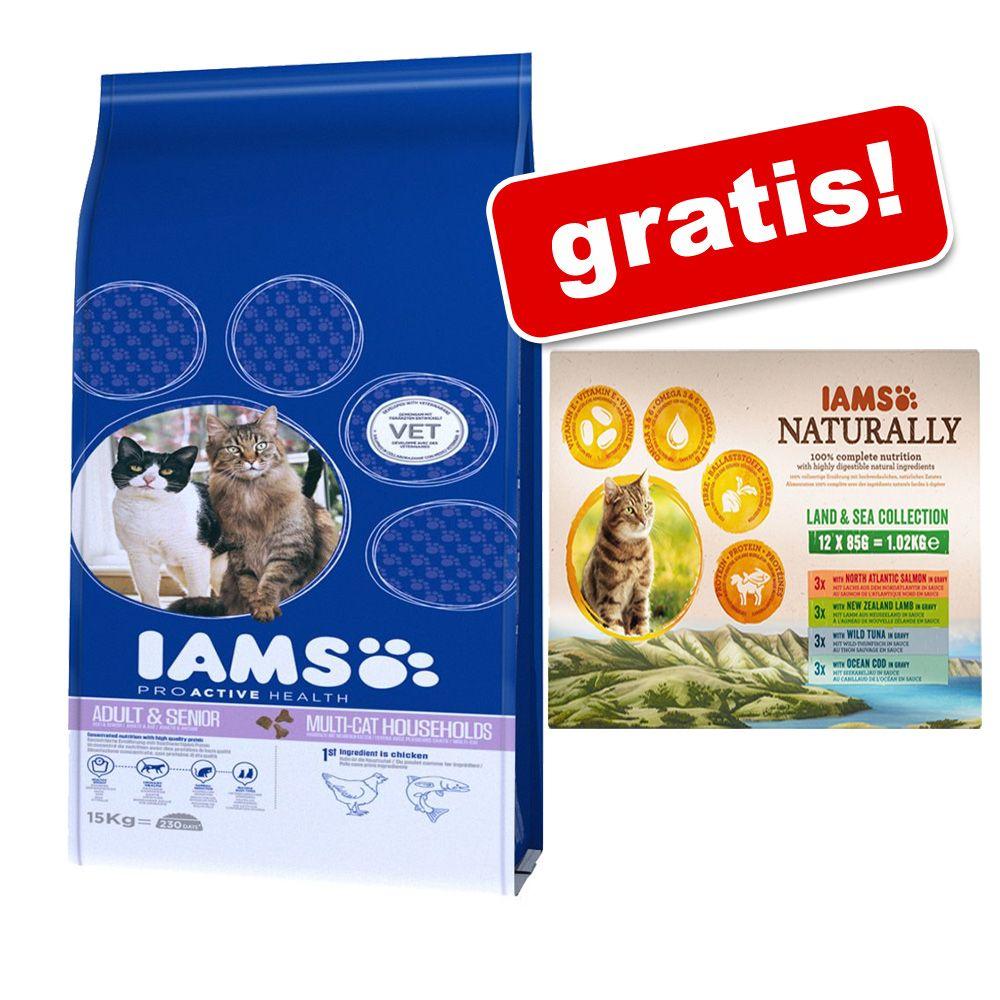 Duże opakowanie IAMS + 12 x 85 g IAMS Naturally Cat Adult Mix gratis! - Adult z rybami morskimi, 10 kg