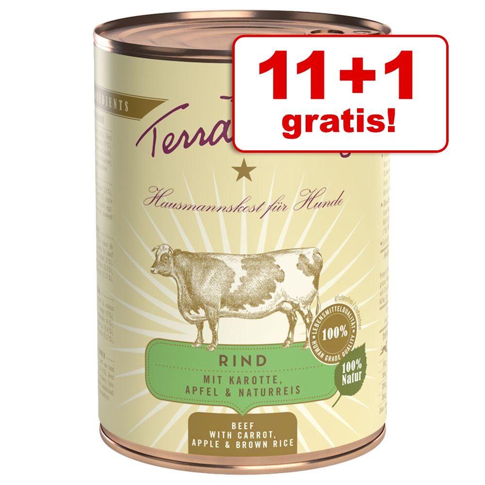 11 + 1 gratis! Terra Canis, 12 x 400 g - Wołowina z marchewką, jabłkiem i ryżem naturalnym
