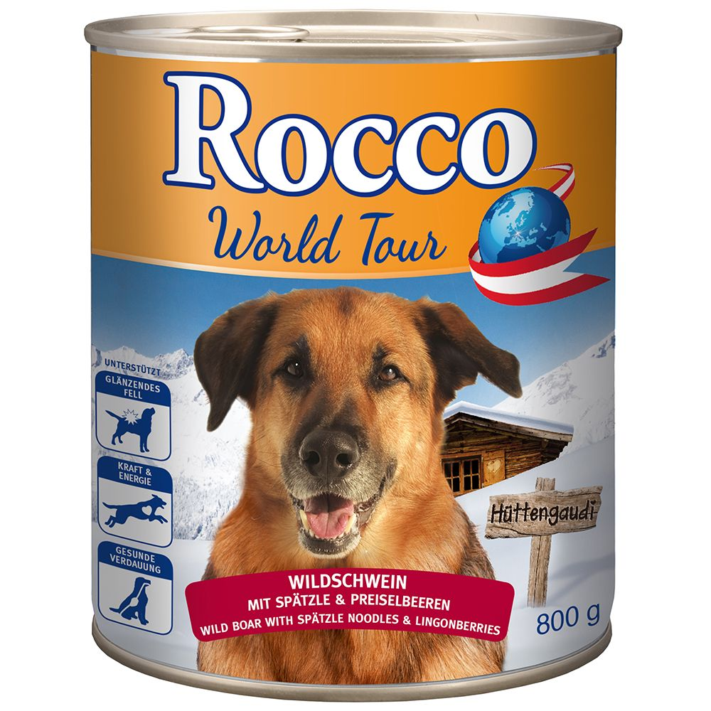 Rocco Tour du monde, Autriche, 6 x 800 g pour chien - sanglier, spätzle, airelles