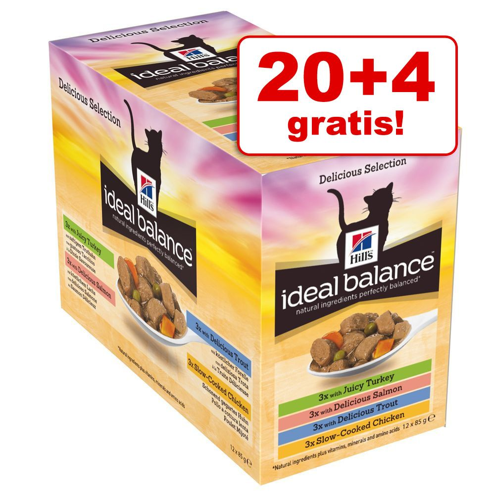 20 + 4 gratis! Hill's Ideal Balance w saszetkach, 24 x 85 g - Kurczak, indyk, pstrąg i łosoś