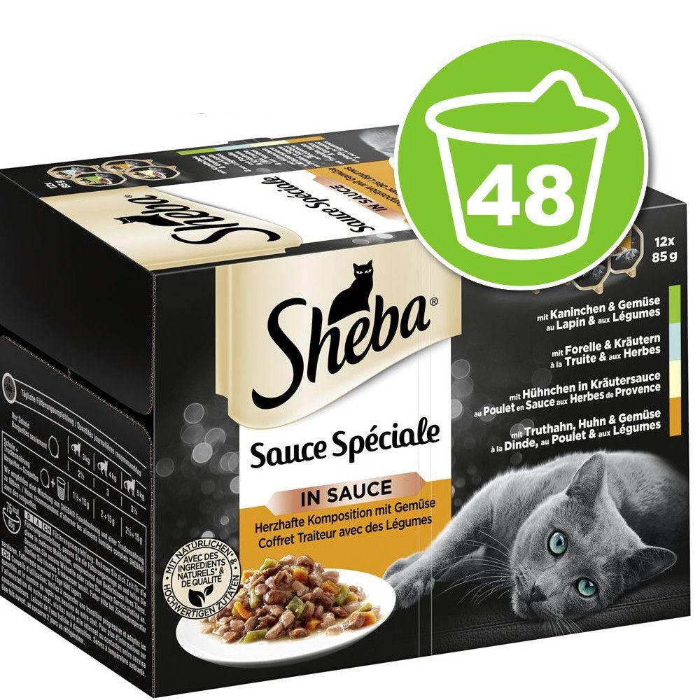 48x85g coffret sauce délicate Sauce spéciale Barquettes Sheba - Nourriture pour Chat