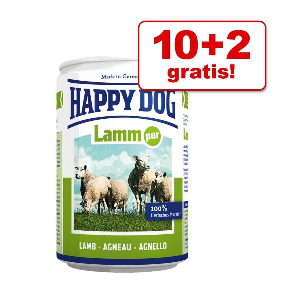 10 + 2 gratis! Happy Dog Pure, 12 x 800 g - Jagnięcina