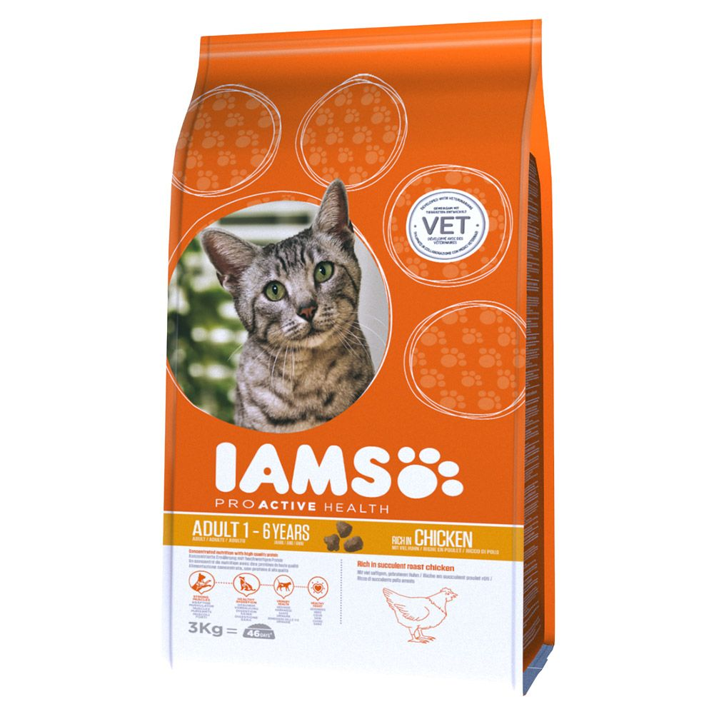2.55/3kg Iams Proactive Health Adult Dry Cat Food - 10% Off!* - Lamb & Chicken (3kg)