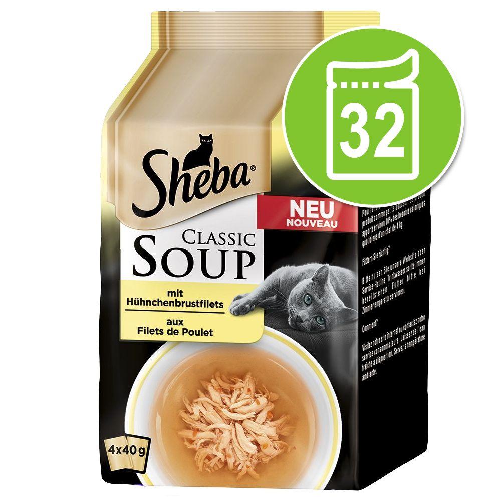 Ekonomipack: Sheba Classic Soup Pouch 32 x 40 g - Djuphavsfiskfiléer & grönsaker