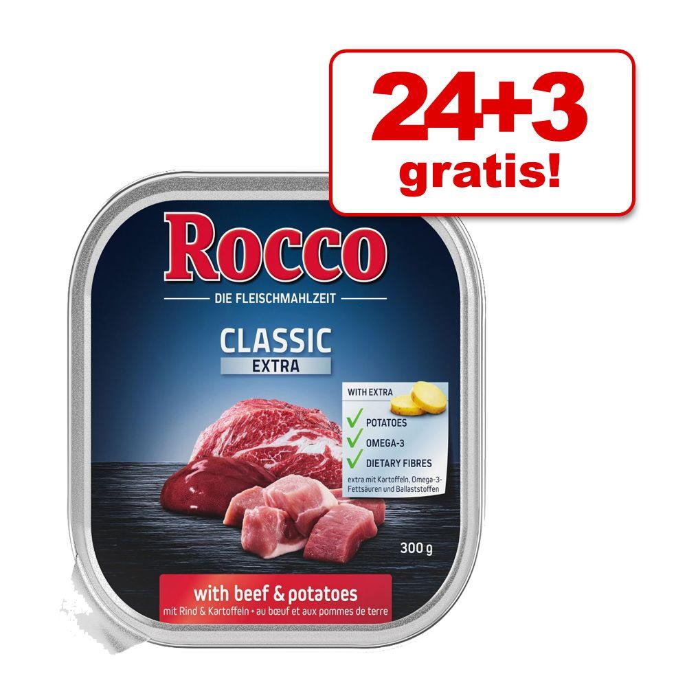 24 + 3 gratis! Rocco Classic Extra tacki, 27 x 300 g - Wołowina z ziemniakami