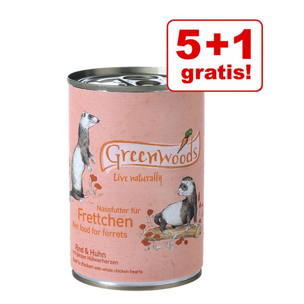 5 + 1 gratis! Greenwoods Nassfutter für Frettch...