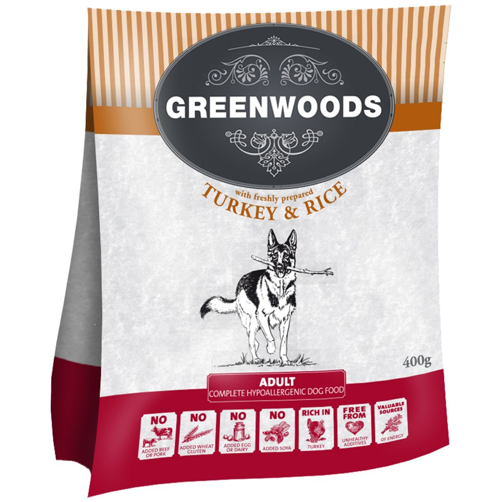 Greenwoods Adult – Turkey & Rice - 400g